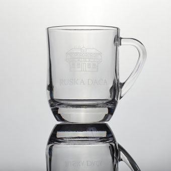 Russian Dacha glass with a handle and engraved logo
